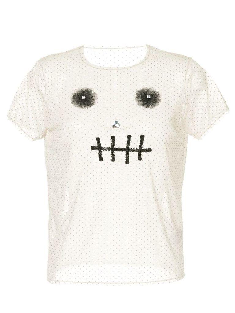 Tu es mon TRÉSOR Skull dotted mesh T-shirt - White