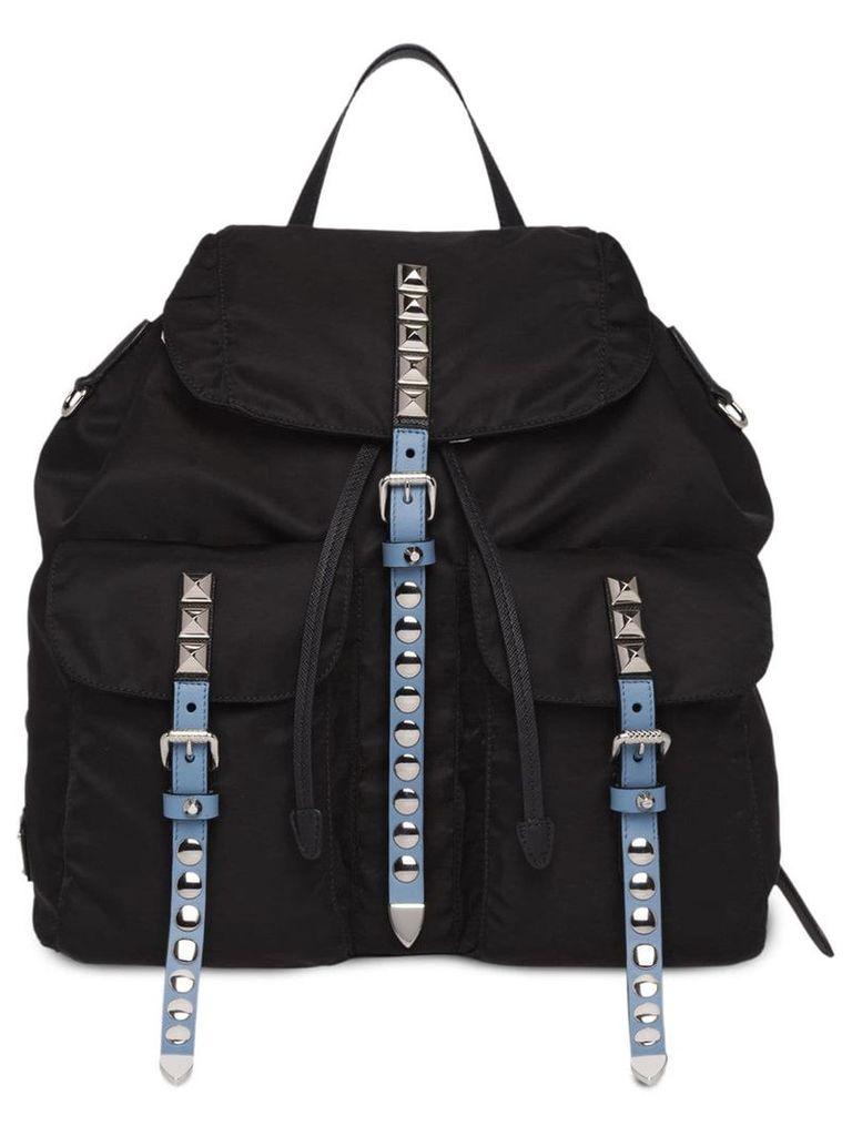 Prada studded buckle backpack - Black