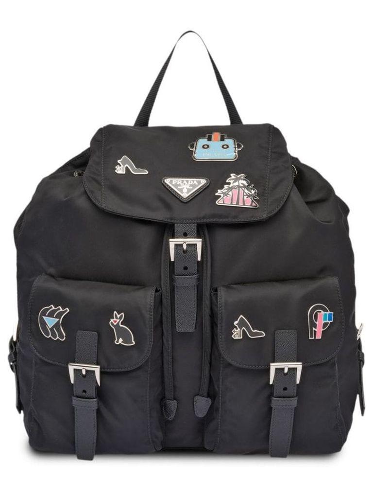 Prada logo fabric backpack - Black