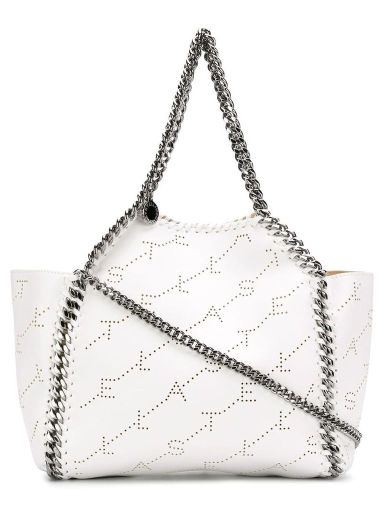 Stella McCartney logo perforated Falabella shoulder bag - White