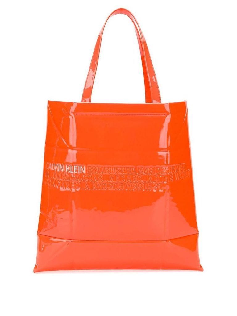 Calvin Klein 205W39nyc embossed logo tote bag - Orange