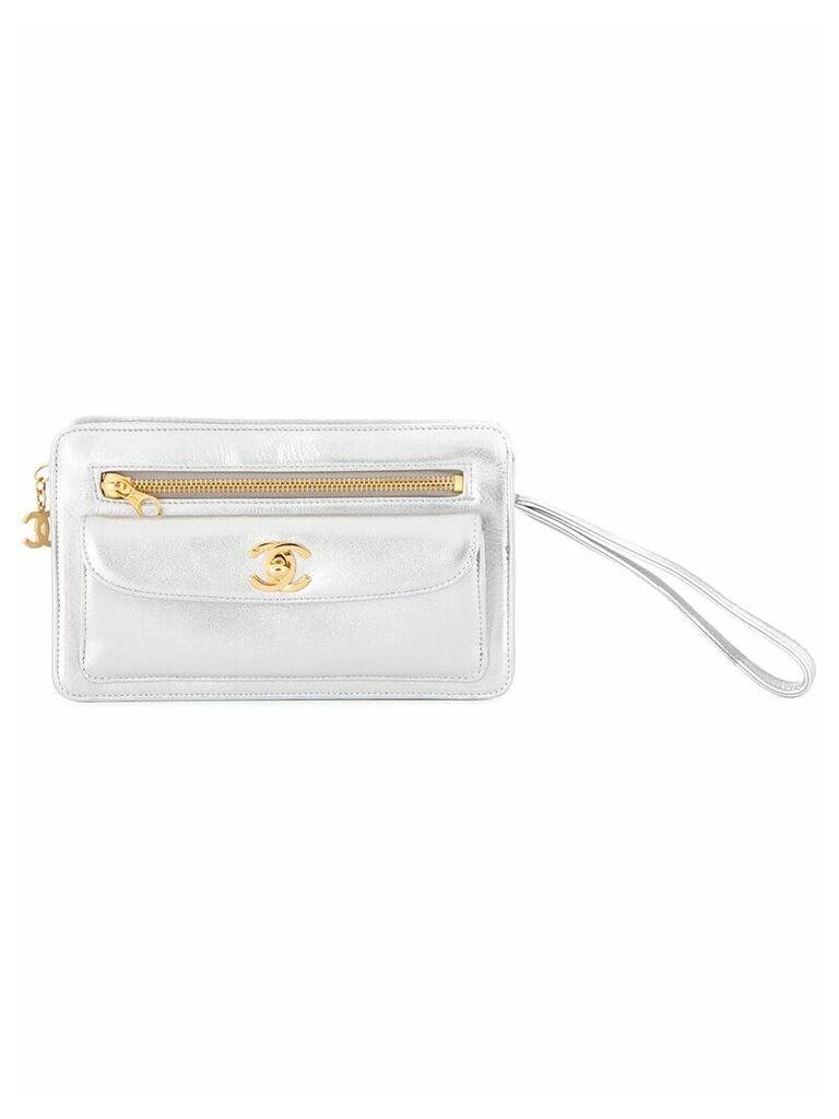 Chanel Vintage Clutch Hand Bag - Silver