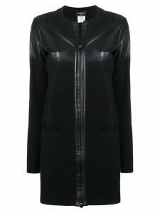 Chanel Pre-Owned leather knitted coat - Black