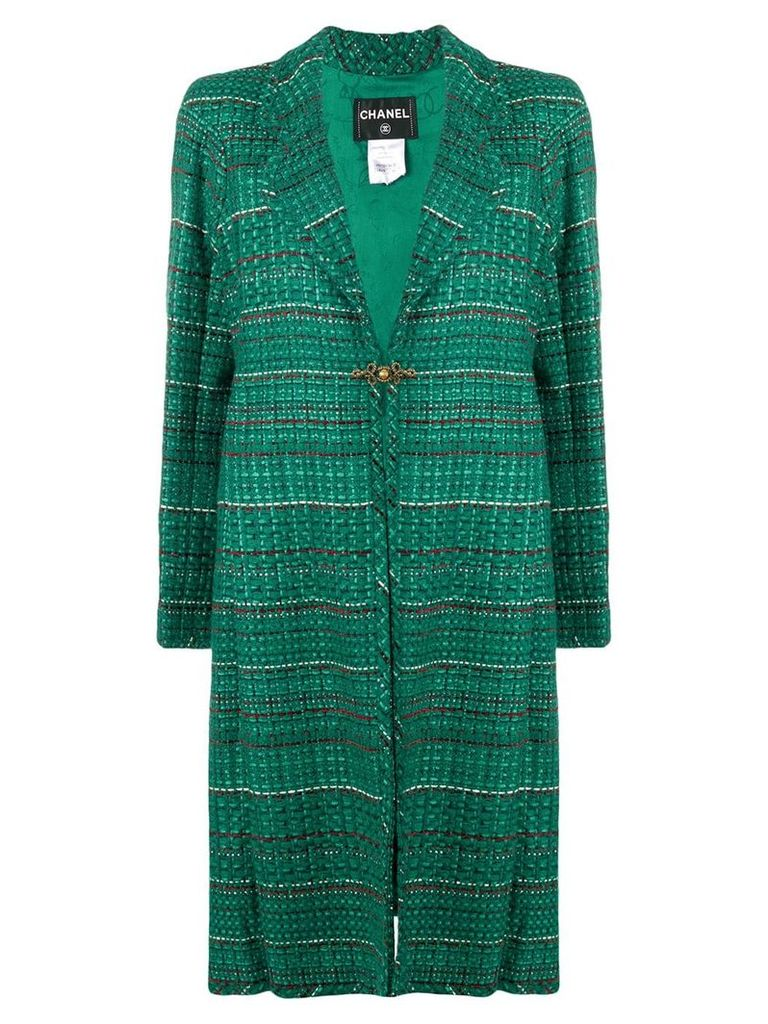 Chanel Vintage striped midi coat - Green/Red/Cream