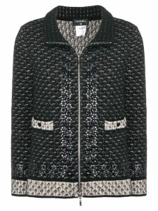 Chanel Pre-Owned standing collar knitted jacket - Black