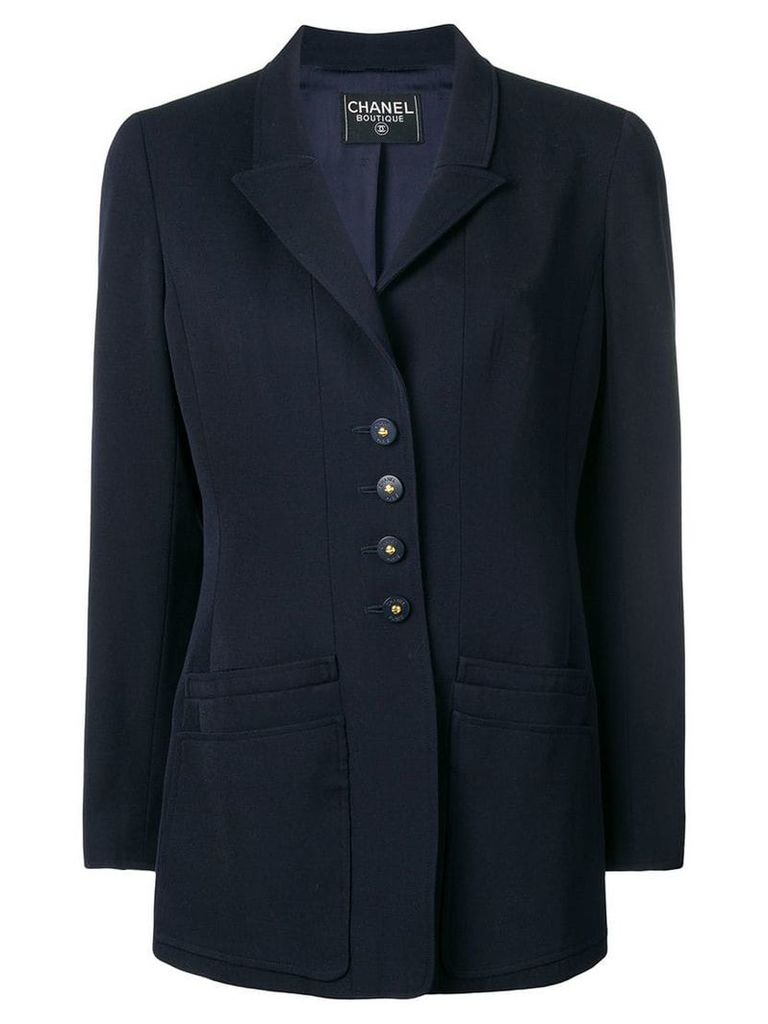 Chanel Pre-Owned layered pockets blazer - Blue