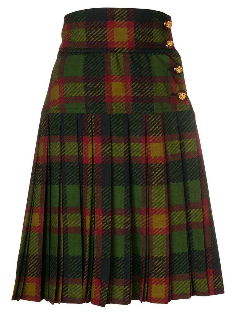 Yves Saint Laurent Pre-Owned pleated tartan skirt - Green