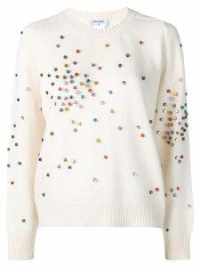 CHANEL PRE-OWNED cashmere embellished jumper - White