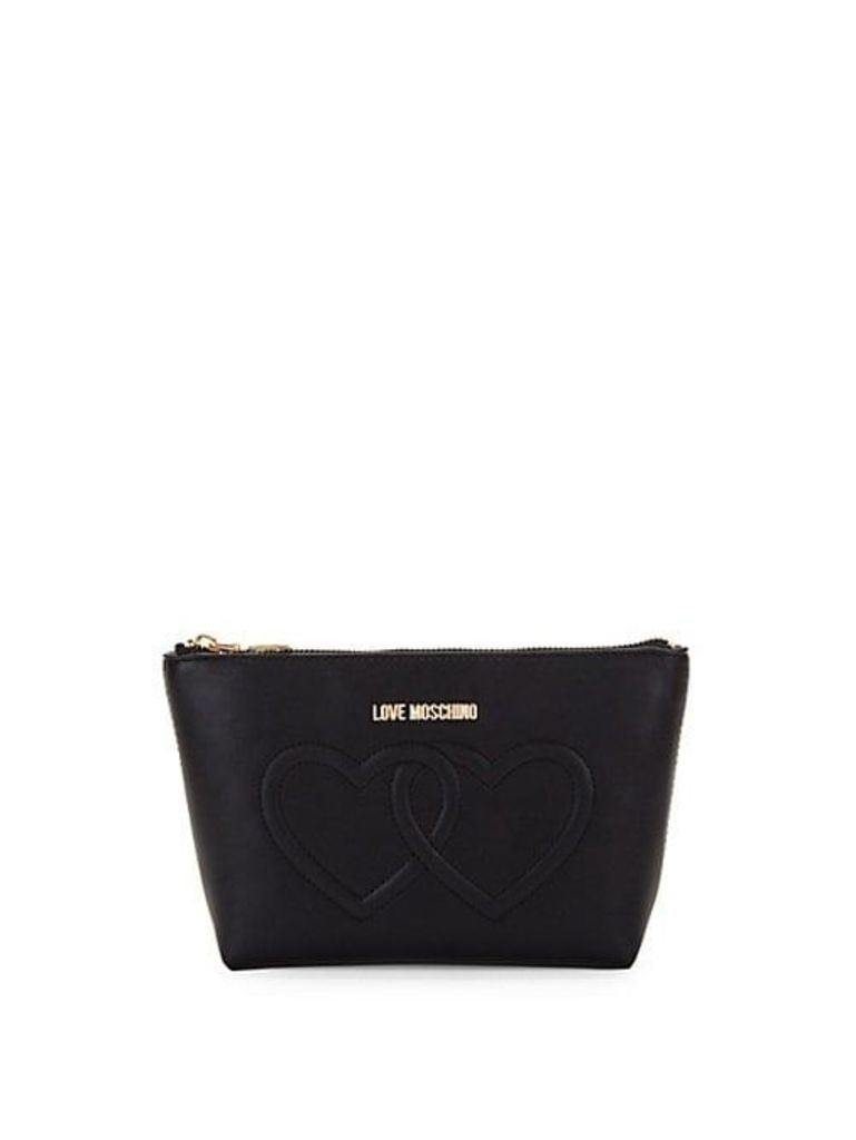 Embossed Heart Makeup Pouch