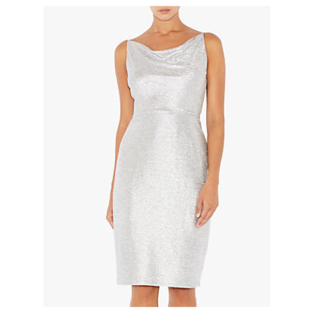 Adrianna Papell Cowl Neck Short Dress, Silver