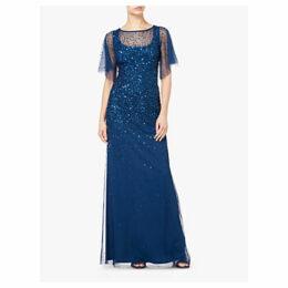 Adrianna Papell Tulle Overlay Sequin Maxi Dress, Blue