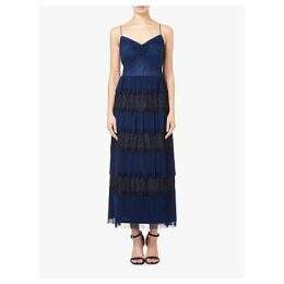 Adrianna Papell Crinkle Lace Tiered Dress, Midnight Blue