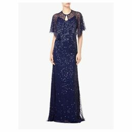 Adrianna Papell Long Beaded Tulle Overlay Dress, Midnight