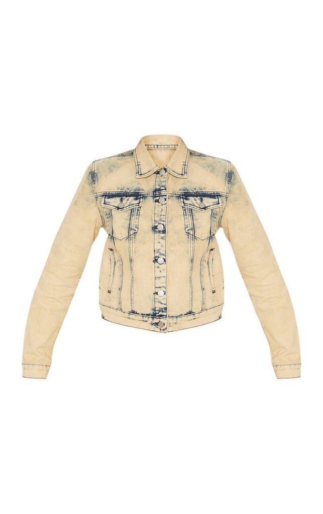 Stone Acid Wash Cropped Denim Jacket, White