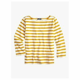 J.Crew Structured Stripe Cotton T-Shirt, Rich Gold/Ivory