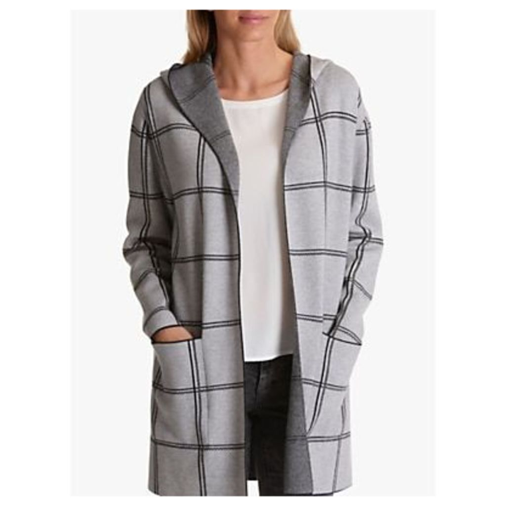 Betty Barclay Hooded Geometric Check Cardigan, Silver/Black