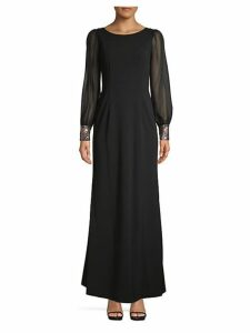 Illusion Long-Sleeve Maxi Sheath Dress