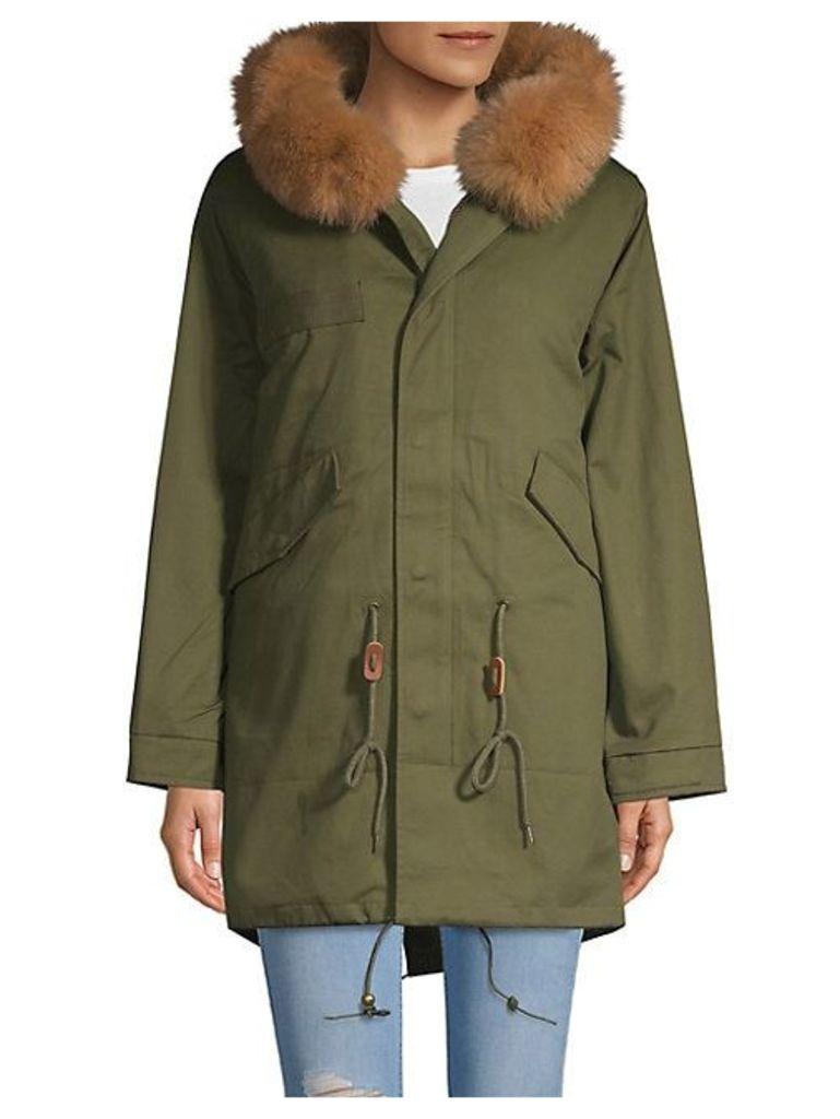Sloane Rabbit Fur Cotton Hooded Parka