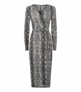 Blue Vanilla Grey Snake Print Mini Wrap Dress New Look