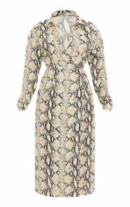 Petite Taupe Snake Print Wrap Midi Dress, Brown