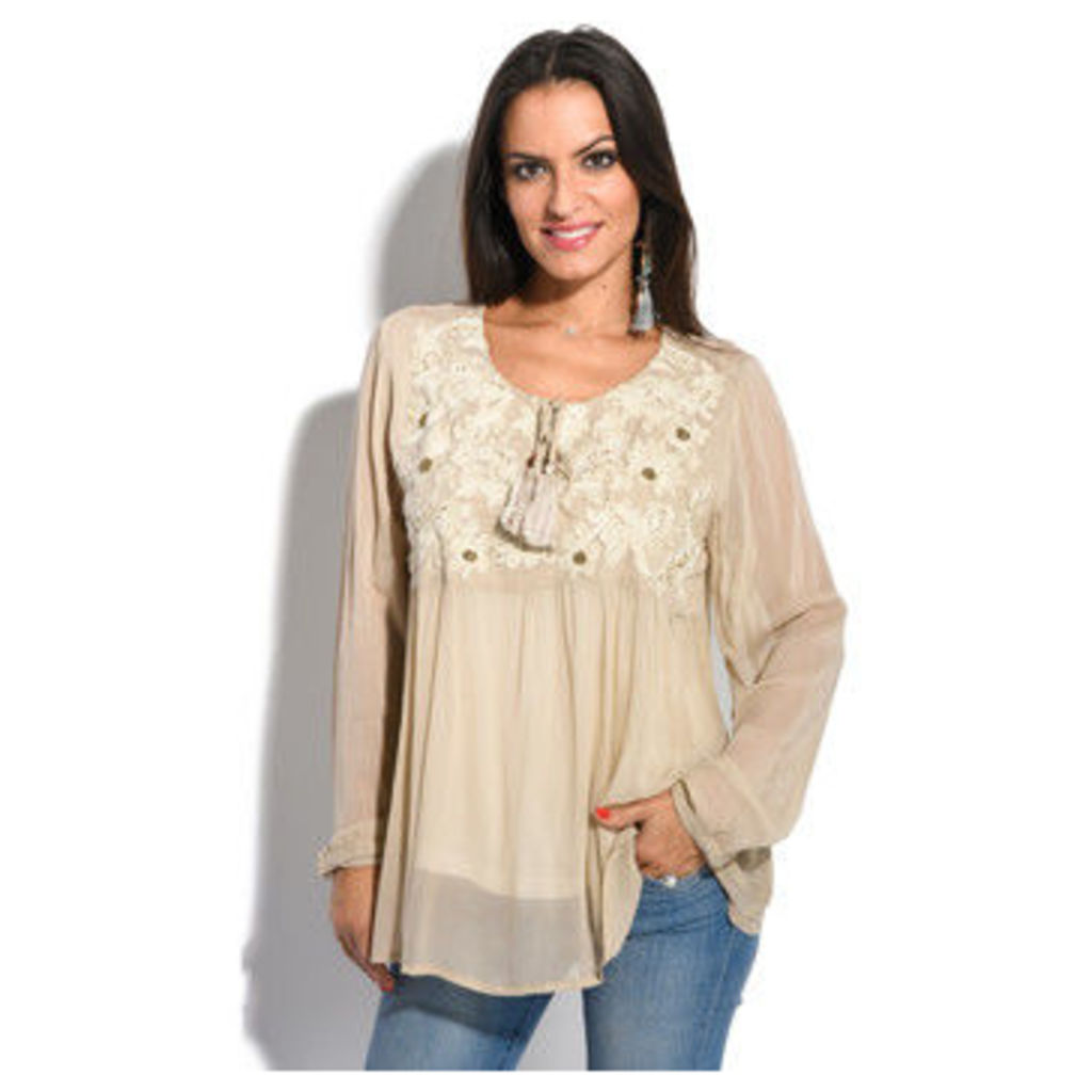 Miss June  Top  women's Blouse in Beige
