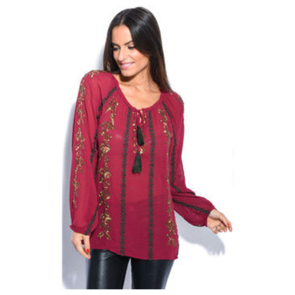 Miss June  Top  women's Blouse in Red