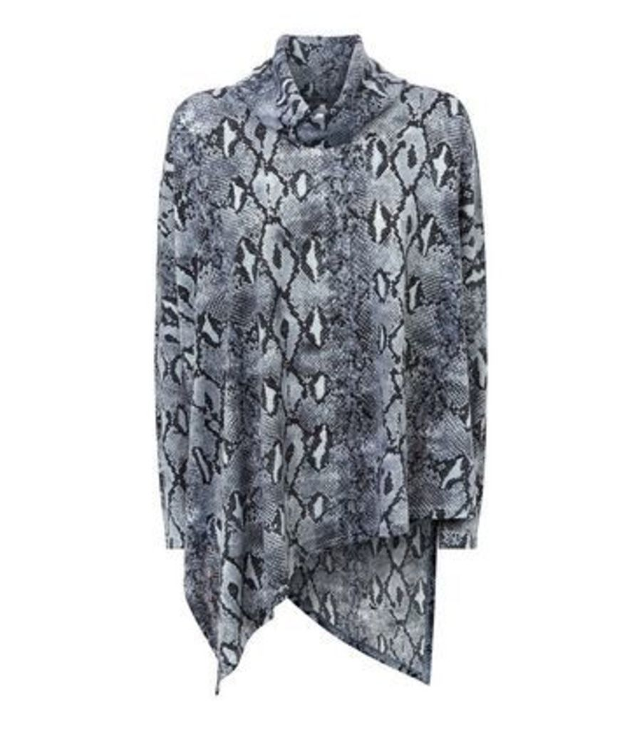 Blue Vanilla Grey Snake Print Cowl Neck Tunic New Look