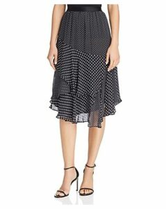 Joie Deshay Tiered Silk Polka-Dot Skirt