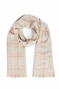 Quiz Pink Check Knit Scarf