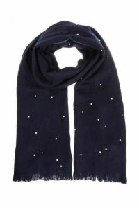 Quiz Navy Pearl Knit Scarf
