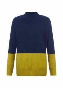 Cydney Cashmere Sweater Navy Green L