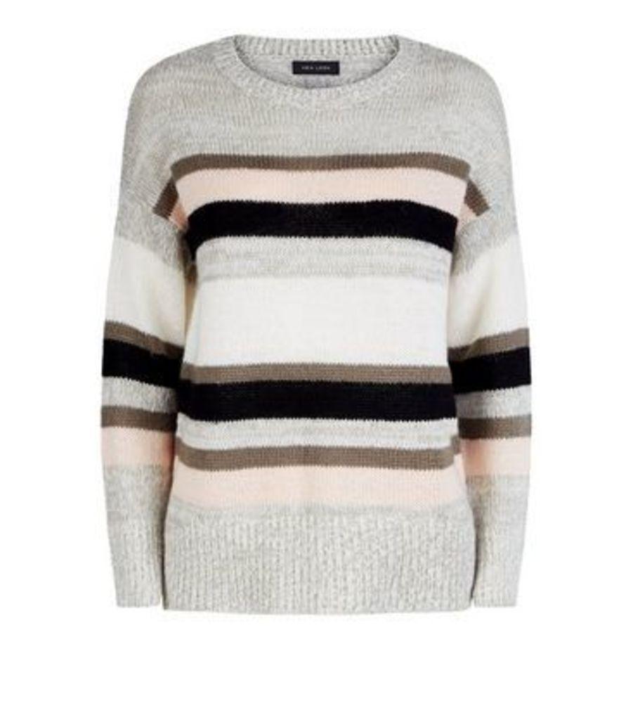 Light Grey Stripe Longline Jumper New Look