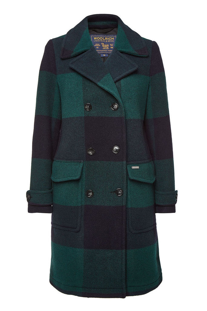 Woolrich Silverton Checked Coat with Wool