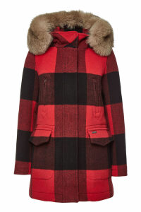 Woolrich McKenzie Checked Wool Parka with Fox Fur