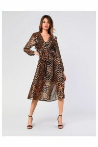 Womens **Leopard Plunge Midi Dress By Glamorous - Brown, Brown