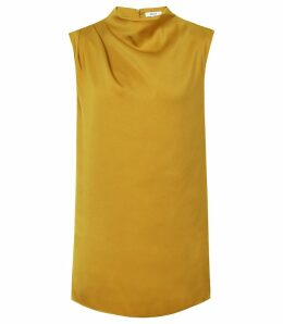 Reiss Solar - High Neck Top in Gold, Womens, Size 14