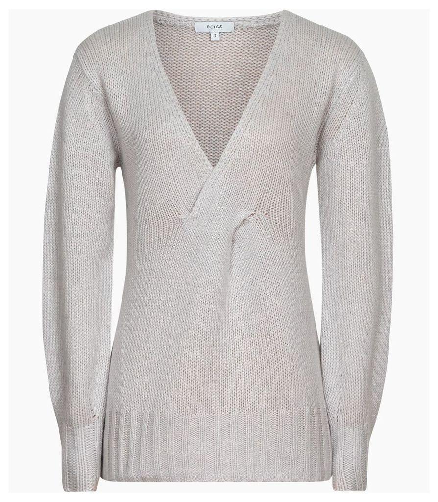Reiss Kat - Twist Front V-neck Jumper in Soft Grey, Womens, Size XXL