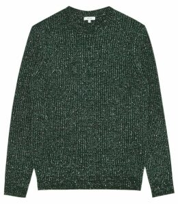 Reiss Pierre - Flecked Crew Neck Jumper in Green, Mens, Size XXL