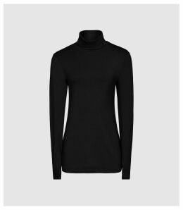 Reiss Charlie - Jersey Rollneck Top in Black, Womens, Size XL