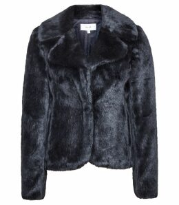 Reiss Aila - Faux Fur Jacket in Navy, Womens, Size XL