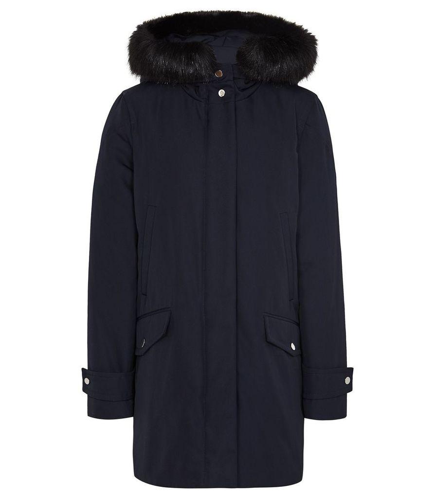 Reiss Rosie - Faux Fur Parka Coat in Navy, Womens, Size 14