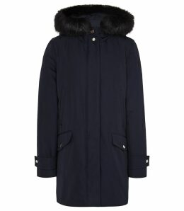 Reiss Rosie - Faux Fur Parka Coat in Navy, Womens, Size 14