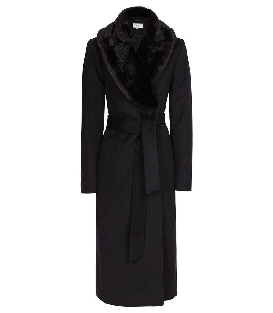 Reiss Orson - Detachable Faux-fur Collar Coat in Black, Womens, Size 14