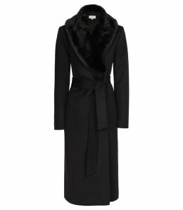 Reiss Orson - Detachable Faux-fur Collar Coat in Black, Womens, Size 14