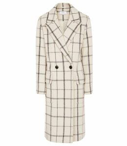 Reiss Atticus - Windowpane Check Overcoat in Cream, Womens, Size 14