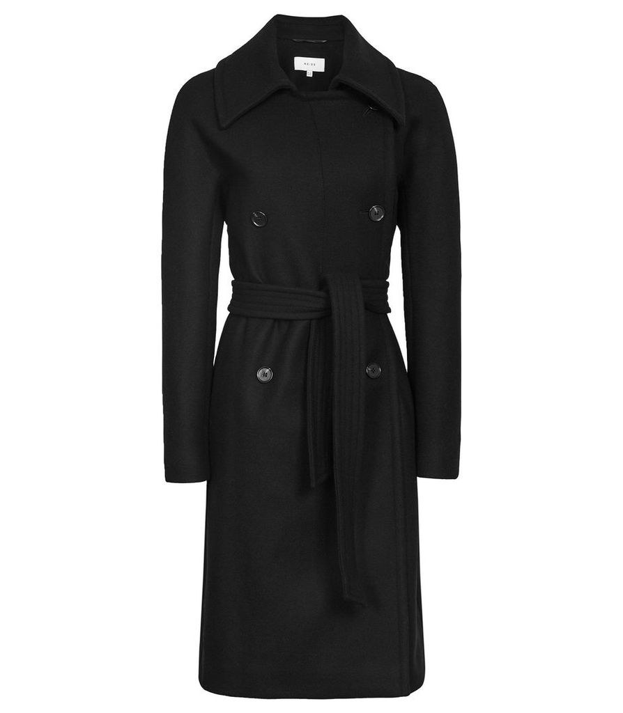 Reiss Eilish - Double Breasted Coat in Black, Womens, Size 14