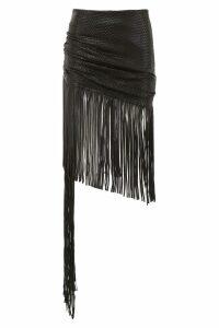 Magda Butrym Leather St. John Skirt With Fringes