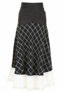self-portrait Check Midi Skirt