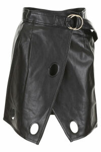self-portrait Faux Leather Skirt With Cut-outs