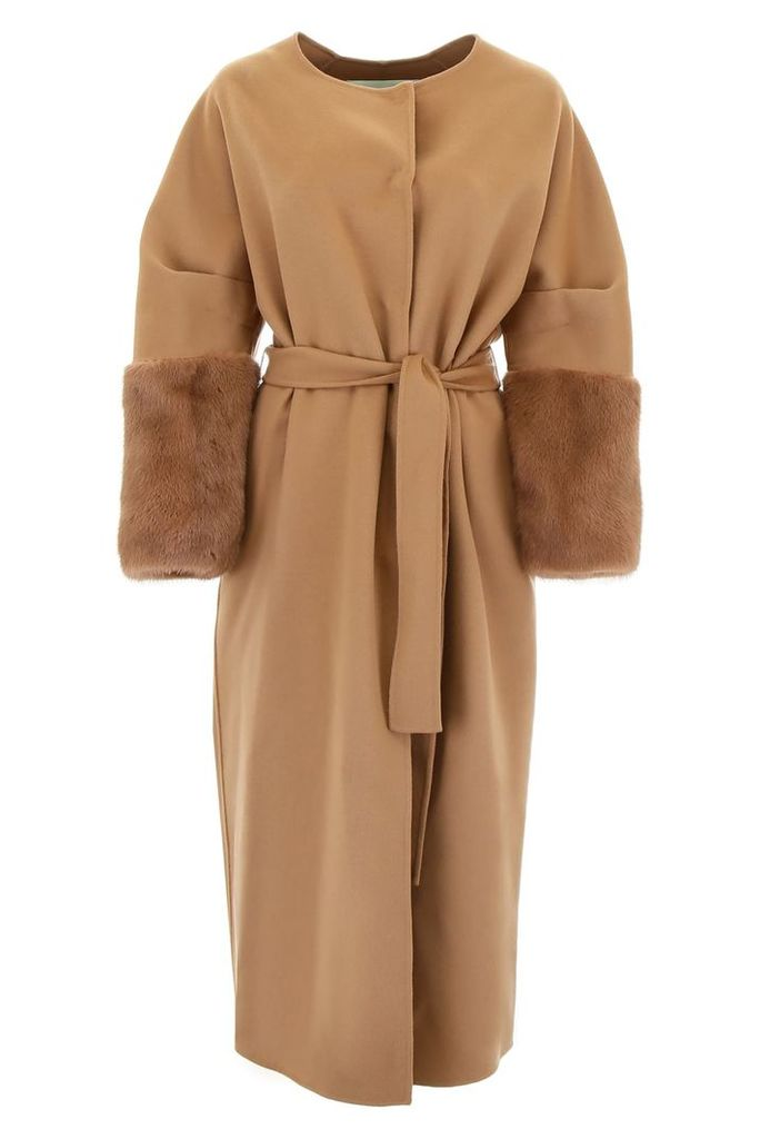Ava Adore Wool And Mink Fur Coat